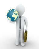 Businessman and the globe. 3d businessman and the globe in his hand Stock Images