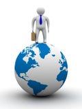 Businessman on globe. Isolated 3D image. Royalty Free Stock Image