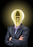Businessman with glowing bulb instead of the head Royalty Free Stock Photography