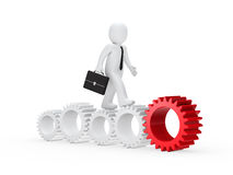 Businessman go on with gear Stock Image