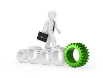 Businessman go on with green gear Royalty Free Stock Image