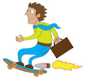 Businessman go to office by using turbo skateboard. Represent a businessman using turbo machine skateboard to go to his office Royalty Free Stock Photos