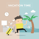 Businessman go to travel on vacation time. Vector illustration Royalty Free Stock Photo