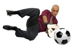 Businessman goalkeeper royalty free stock photo
