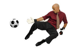 Businessman goalkeeper Royalty Free Stock Photos