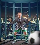Businessman-goalkeeper Royalty Free Stock Images