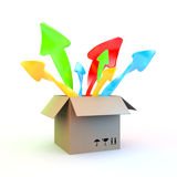 Box and pop up arrows Stock Photos