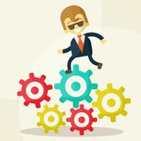 Businessman goes to success and gears Royalty Free Stock Photos