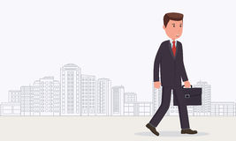 Businessman goes to work. Business concept business man Royalty Free Stock Image