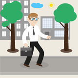 Businessman goes to work to office. Illustration of businessman or manager on the street going to office Royalty Free Stock Photo