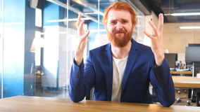Businessman Going Crazy and Feeling Frustrated, Red Hairs Royalty Free Stock Image