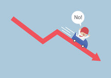 Businessman going down in a roller coaster over stock market arr. Ow, VECTOR, EPS10 stock illustration
