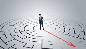 Businessman going through the maze royalty free stock photography