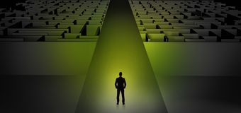 Businessman going straight on two dark mazes stock illustration