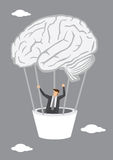 Businessman Going Up in Human Brain Hot Air Balloon Royalty Free Stock Images