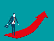 Businessman going up on the red arrow. Concept business illustra. Tion. Vector flat Stock Photography