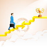 Businessman going up to the success with arrow connection. Staircase go to the trophies.arrow in impossible geometric shapes link.Vector Illustration Royalty Free Stock Photos