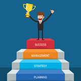 Businessman going up to success. Stair step to Trophy and success. Staircase to success. Royalty Free Stock Photo