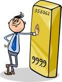 Businessman with gold bar cartoon Stock Photography