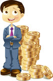 Businessman with gold coins Royalty Free Stock Photo