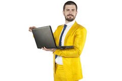 Businessman in a gold suit is a leader in your company Royalty Free Stock Photos