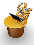 Businessman gold works as six hands Royalty Free Stock Photo