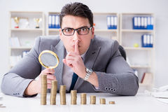 The businessman with golden coins in business growth concept Stock Images