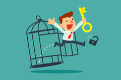 Businessman with golden key free himself from cage vector illustration