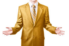 Businessman in golden suit Royalty Free Stock Image