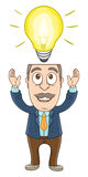 Businessman - Got a bright idea Royalty Free Stock Photography