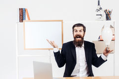 Businessman got idea with bulb Royalty Free Stock Image