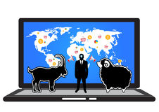 Businessman grab a goat to match a sheep on computer online and set icon business . Royalty Free Stock Image
