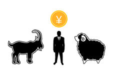 Businessman grab a goat to matching a sheep with Yen coin business concept. Businessman grab a goat to matching a sheep with Yen coin business concept Stock Image