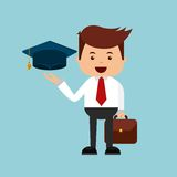 Businessman with graduation hat icon Stock Images