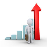 Businessman and graph with arrow. 3d businessman is standing in front of graphic chart with arrow Stock Image