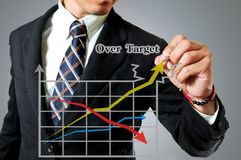 Businessman with graph breaking target. Stock Photos