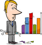 Businessman and graph data cartoon Stock Images