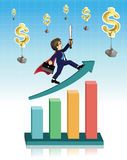 Businessman on graph with dollar falls from the sky Royalty Free Stock Photo