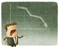 Businessman and graph finance down. Businessman standing in front of a declining stock chart Royalty Free Stock Image