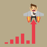 Businessman with graph fling up Royalty Free Stock Images