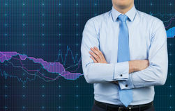 Businessman and graph Stock Image