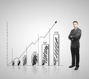 Businessman  and graph Royalty Free Stock Images
