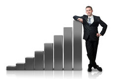 Businessman with a graphic Royalty Free Stock Photo