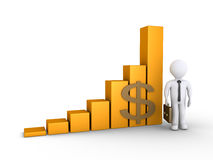 Businessman with a graphic chart. 3d businessman is standing next to a rising graphic chart Stock Images