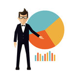 Businessman graphic statistic Stock Photography