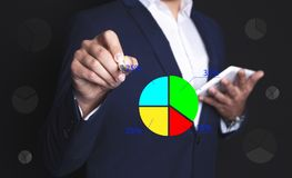 Businessman and graphics royalty free stock photos