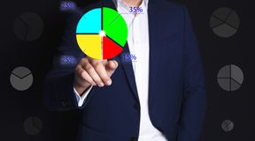 Businessman and graphics royalty free stock image