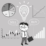 Businessman and graphs and charts. The idea of the concept of bu. Ying and selling. Vector Illustration Royalty Free Stock Photography