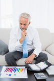 Businessman with graphs and diary at home. Concentrated mature businessman with graphs and diary sitting in the living room at home Royalty Free Stock Images
