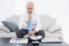 Businessman with graphs and diary sitting in living room. Concentrated mature businessman with graphs and diary sitting in the living room at home Royalty Free Stock Images